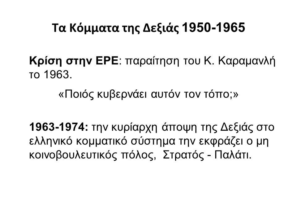 Τα Κόμματα της Δεξιάς 1950-1965 Κρίση στην ΕΡΕ: παραίτηση του Κ. Καραμανλή το 1963. «Ποιός κυβερνάει αυτόν τον τόπο;» 1963-1974: την κυρίαρχη άποψη τη