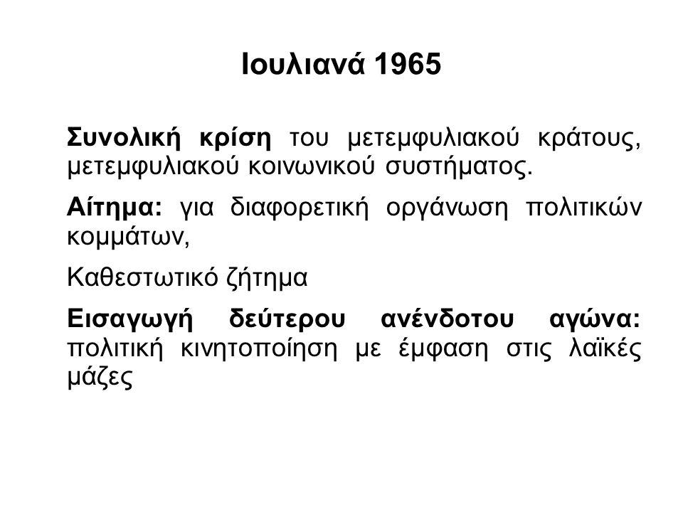 Ιουλιανά 1965 Συνολική κρίση του μετεμφυλιακού κράτους, μετεμφυλιακού κοινωνικού συστήματος. Αίτημα: για διαφορετική οργάνωση πολιτικών κομμάτων, Καθε