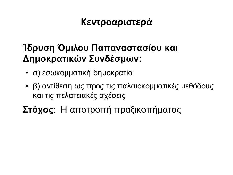 Κεντροαριστερά Ίδρυση Όμιλου Παπαναστασίου και Δημοκρατικών Συνδέσμων: α) εσωκομματική δημοκρατία β) αντίθεση ως προς τις παλαιοκομματικές μεθόδους και τις πελατειακές σχέσεις Στόχος: Η αποτροπή πραξικοπήματος