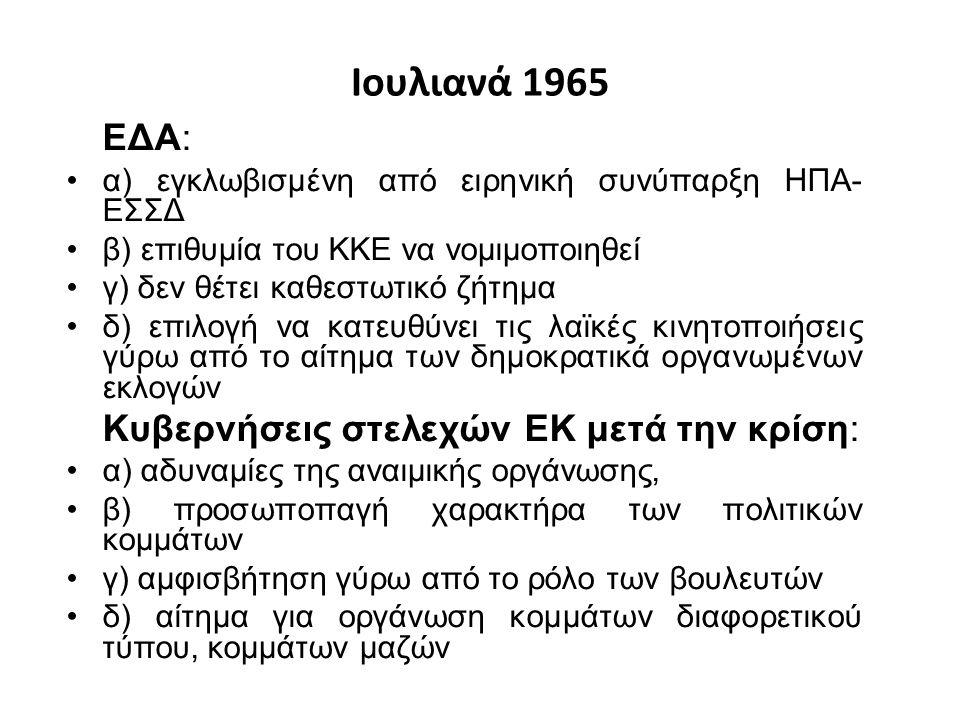 Ιουλιανά 1965 ΕΔΑ: α) εγκλωβισμένη από ειρηνική συνύπαρξη ΗΠΑ- ΕΣΣΔ β) επιθυμία του ΚΚΕ να νομιμοποιηθεί γ) δεν θέτει καθεστωτικό ζήτημα δ) επιλογή να κατευθύνει τις λαϊκές κινητοποιήσεις γύρω από το αίτημα των δημοκρατικά οργανωμένων εκλογών Κυβερνήσεις στελεχών ΕΚ μετά την κρίση: α) αδυναμίες της αναιμικής οργάνωσης, β) προσωποπαγή χαρακτήρα των πολιτικών κομμάτων γ) αμφισβήτηση γύρω από το ρόλο των βουλευτών δ) αίτημα για οργάνωση κομμάτων διαφορετικού τύπου, κομμάτων μαζών