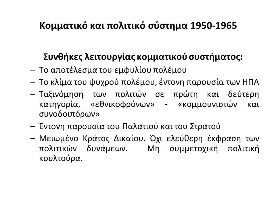 Κομματικό και πολιτικό σύστημα 1950-1965 Συνθήκες λειτουργίας κομματικού συστήματος: –Το αποτέλεσμα του εμφυλίου πολέμου –Το κλίμα του ψυχρού πολέμου, έντονη παρουσία των ΗΠΑ –Ταξινόμηση των πολιτών σε πρώτη και δεύτερη κατηγορία, «εθνικοφρόνων» - «κομμουνιστών και συνοδοιπόρων» –Έντονη παρουσία του Παλατιού και του Στρατού –Μειωμένο Κράτος Δικαίου.