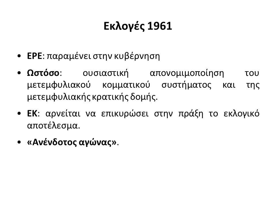 Εκλογές 1961 ΕΡΕ: παραμένει στην κυβέρνηση Ωστόσο: ουσιαστική απονομιμοποίηση του μετεμφυλιακού κομματικού συστήματος και της μετεμφυλιακής κρατικής δ
