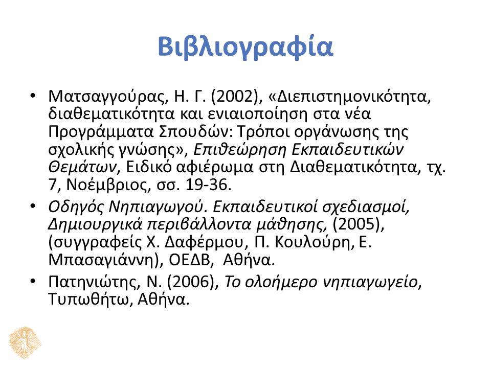 Βιβλιογραφία Ματσαγγούρας, Η. Γ. (2002), «Διεπιστημονικότητα, διαθεματικότητα και ενιαιοποίηση στα νέα Προγράμματα Σπουδών: Τρόποι οργάνωσης της σχολι