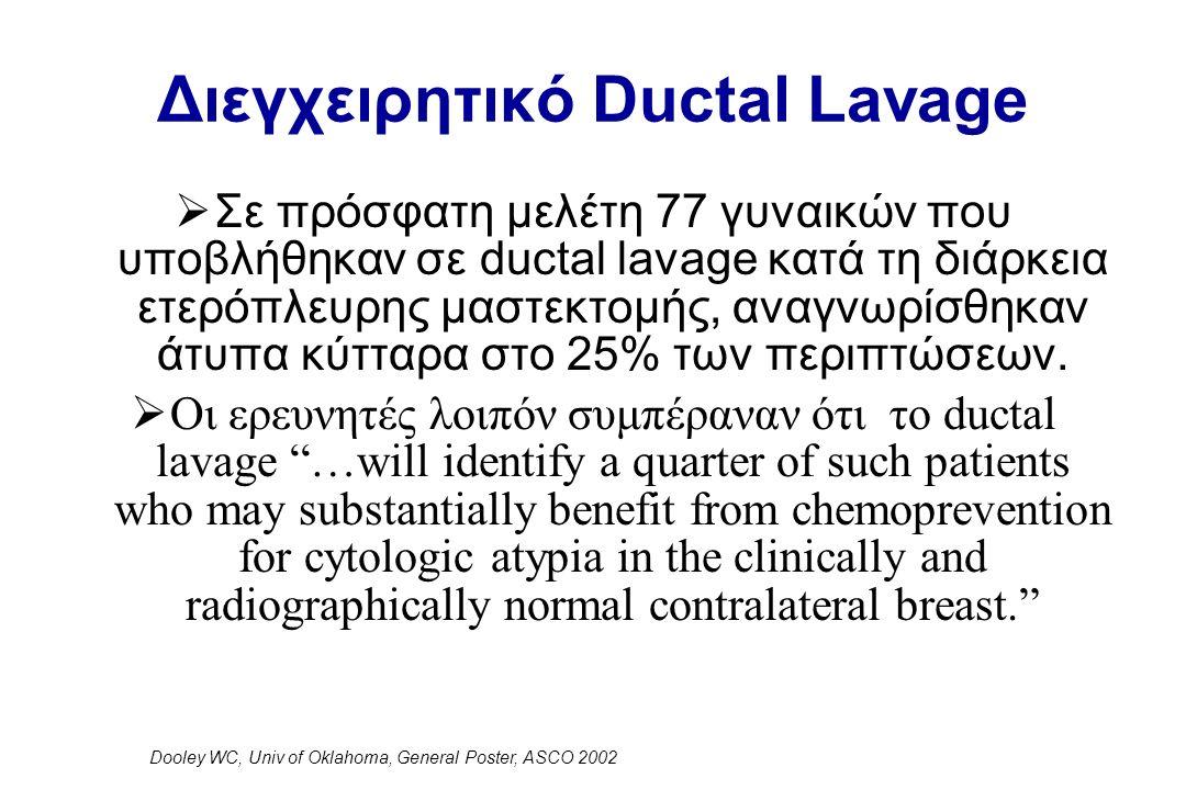 Διεγχειρητικό Ductal Lavage  Σε πρόσφατη μελέτη 77 γυναικών που υποβλήθηκαν σε ductal lavage κατά τη διάρκεια ετερόπλευρης μαστεκτομής, αναγνωρίσθηκαν άτυπα κύτταρα στο 25% των περιπτώσεων.