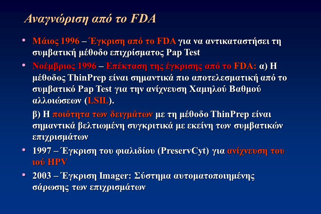 Αναγνώριση από το FDA Μάιος 1996 – Έγκριση από το FDA για να αντικαταστήσει τη συμβατική μέθοδο επιχρίσματος Pap Test Μάιος 1996 – Έγκριση από το FDA για να αντικαταστήσει τη συμβατική μέθοδο επιχρίσματος Pap Test Νοέμβριος 1996 – Επέκταση της έγκρισης από το FDA: α) H μέθοδος ThinPrep είναι σημαντικά πιο αποτελεσματική από το συμβατικό Pap Test για την ανίχνευση Χαμηλού Βαθμού αλλοιώσεων (LSIL).