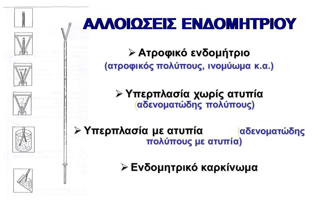 ΑΛΛΟΙΩΣΕΙΣ ΕΝΔΟΜΗΤΡΙΟΥ  Ατροφικό ενδομήτριο (ατροφικός πολύπους, ινομύωμα κ.α.)  Υπερπλασία χωρίς ατυπία (αδενοματώδης πολύπους)  Υπερπλασία με ατυπία (αδενοματώδης πολύπους με ατυπία)  Ενδομητρικό καρκίνωμα
