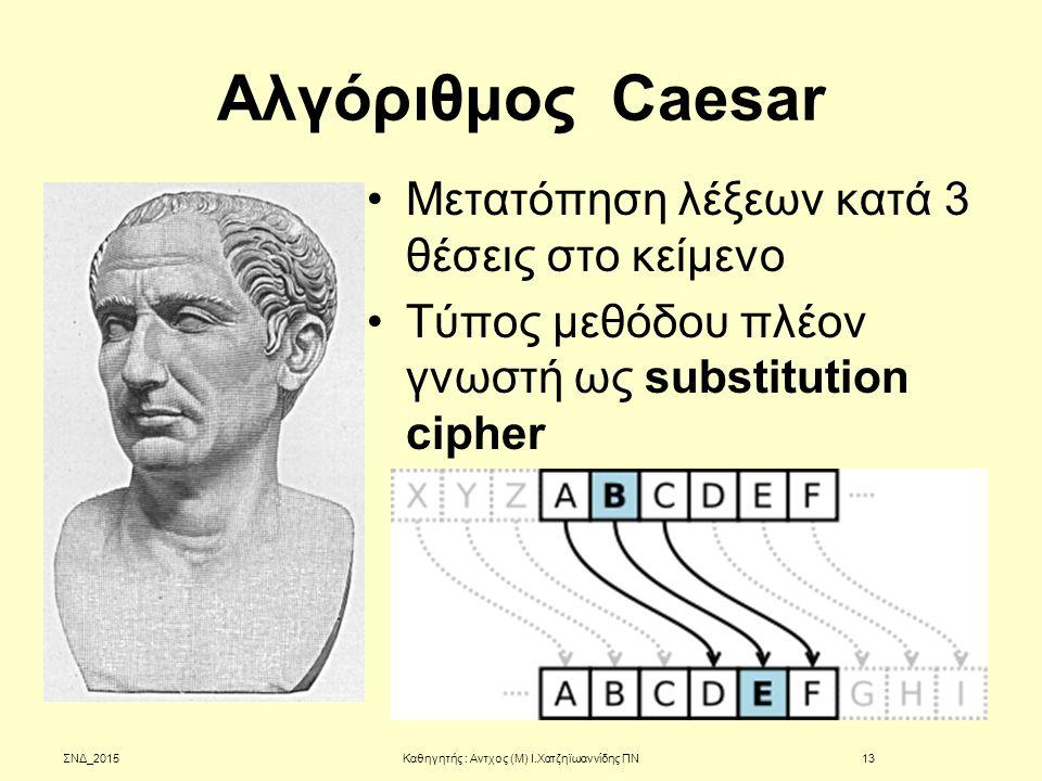 Αλγόριθμος Caesar Μετατόπηση λέξεων κατά 3 θέσεις στο κείμενο Τύπος μεθόδου πλέον γνωστή ως substitution cipher ΣΝΔ_201513Καθηγητής : Αντχος (Μ) Ι.Χατ