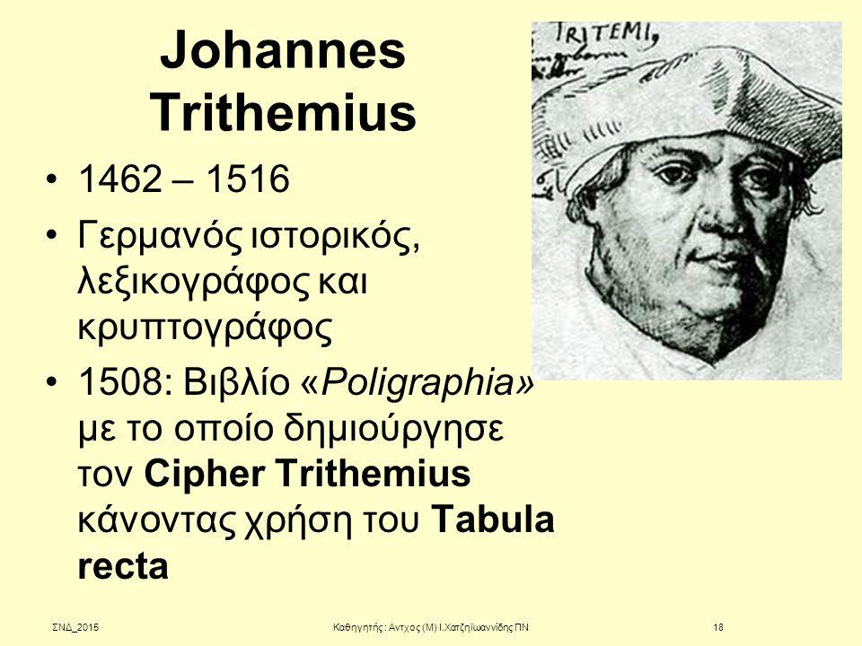 Johannes Trithemius 1462 – 1516 Γερμανός ιστορικός, λεξικογράφος και κρυπτογράφος 1508: Βιβλίο «Poligraphia» με το οποίο δημιούργησε τον Cipher Trithe