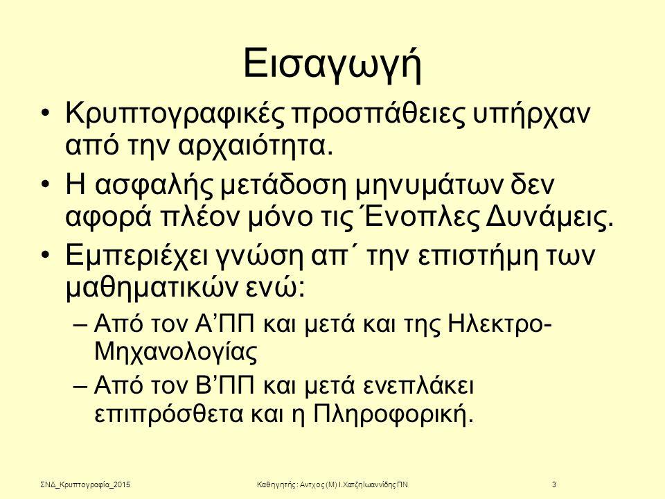 Κρυπτογραφία Φιλικής Εταιρίας ΣΝΔ_2015Καθηγητής : Αντχος (Μ) Ι.Χατζηϊωαννίδης ΠΝ24