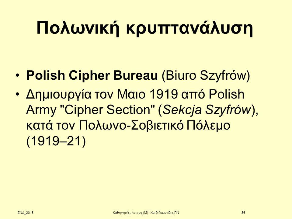 Πολωνική κρυπτανάλυση Polish Cipher Bureau (Biuro Szyfrów) Δημιουργία τον Μαιο 1919 από Polish Army