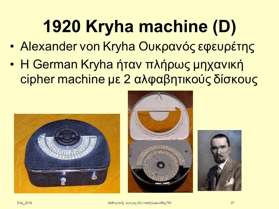 1920 Kryha machine (D) Alexander von Kryha Ουκρανός εφευρέτης H German Kryha ήταν πλήρως μηχανική cipher machine με 2 αλφαβητικούς δίσκους ΣΝΔ_2015Καθ