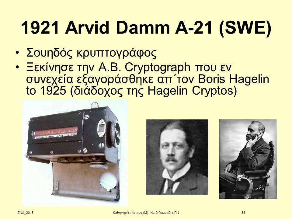 1921 Arvid Damm A-21 (SWE) Σουηδός κρυπτογράφος Ξεκίνησε την A.B. Cryptograph που εν συνεχεία εξαγοράσθηκε απ΄τον Boris Hagelin to 1925 (διάδοχος της