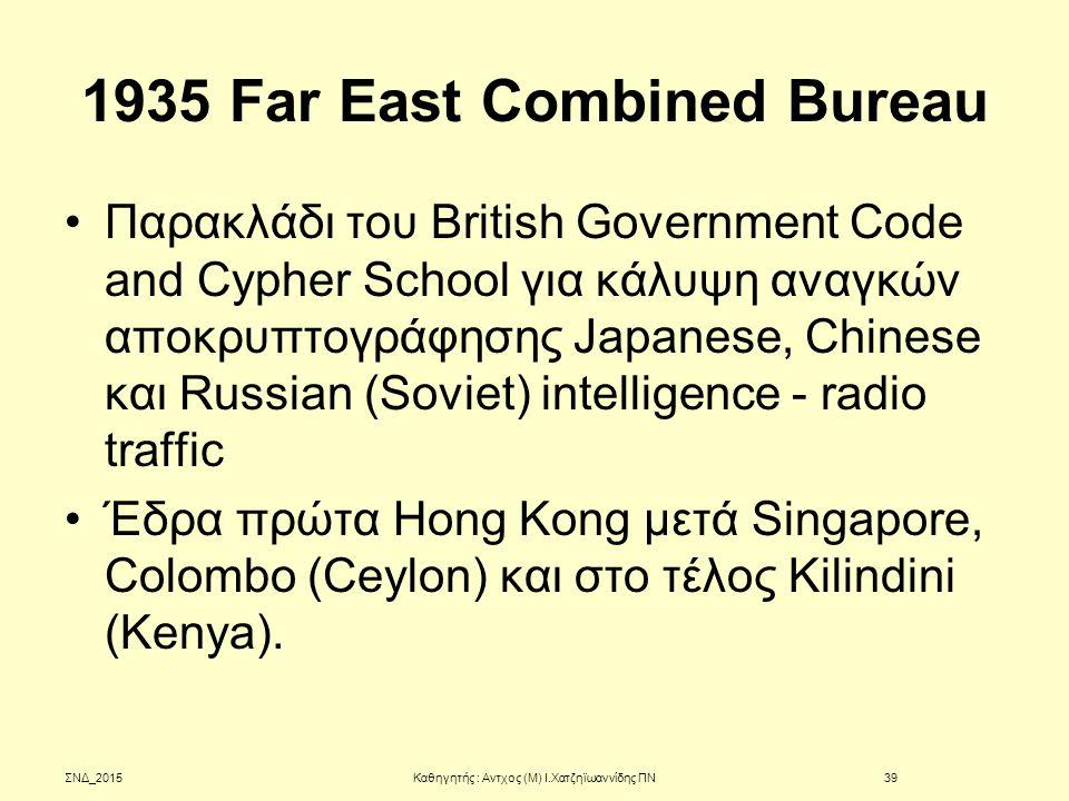 1935 Far East Combined Bureau Παρακλάδι του British Government Code and Cypher School για κάλυψη αναγκών αποκρυπτογράφησης Japanese, Chinese και Russi