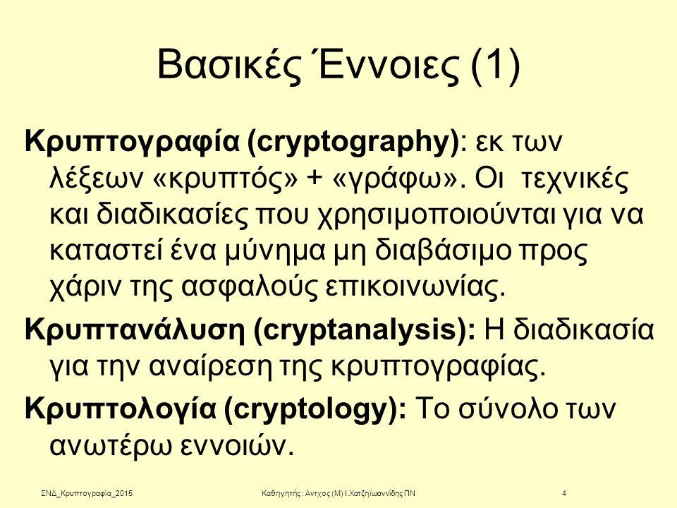 Βασικές Έννοιες (1) Κρυπτογραφία (cryptography): εκ των λέξεων «κρυπτός» + «γράφω». Οι τεχνικές και διαδικασίες που χρησιμοποιούνται για να καταστεί έ