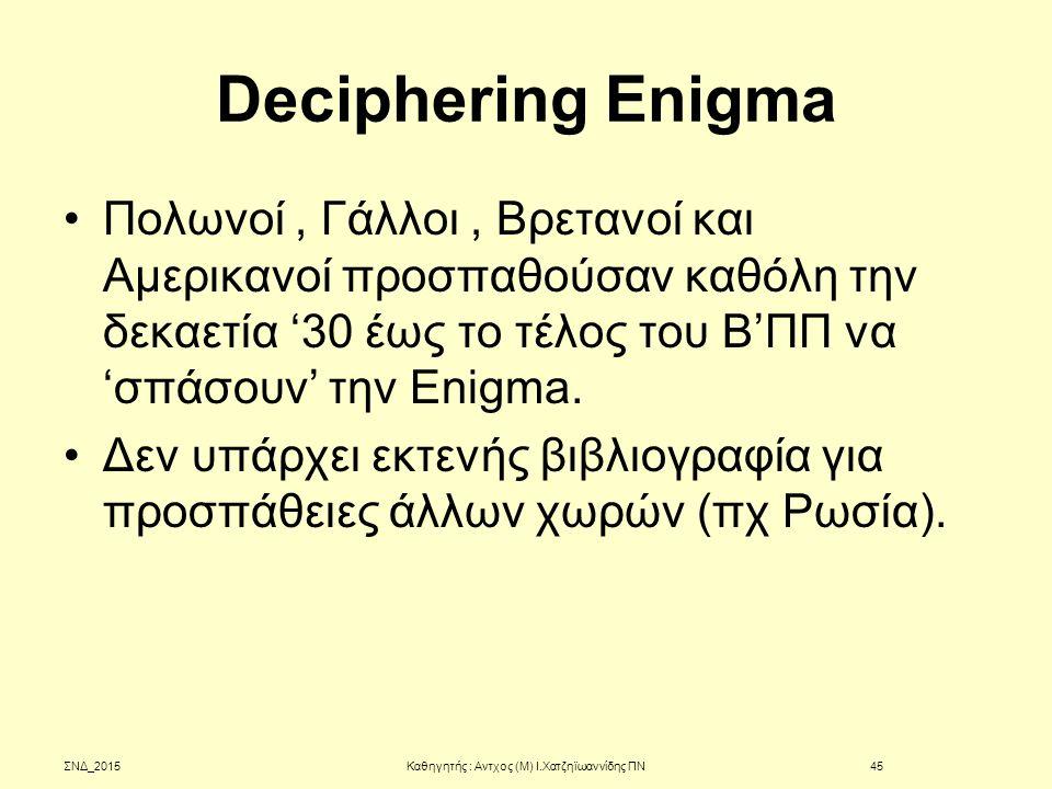Deciphering Enigma Πολωνοί, Γάλλοι, Βρετανοί και Αμερικανοί προσπαθούσαν καθόλη την δεκαετία '30 έως το τέλος του Β'ΠΠ να 'σπάσουν' την Enigma. Δεν υπ