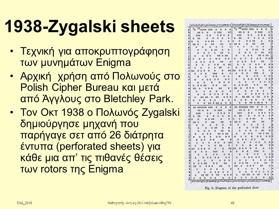 1938-Zygalski sheets Τεχνική για αποκρυπτογράφηση των μυνημάτων Enigma Αρχική χρήση από Πολωνούς στο Polish Cipher Bureau και μετά από Άγγλους στο Ble