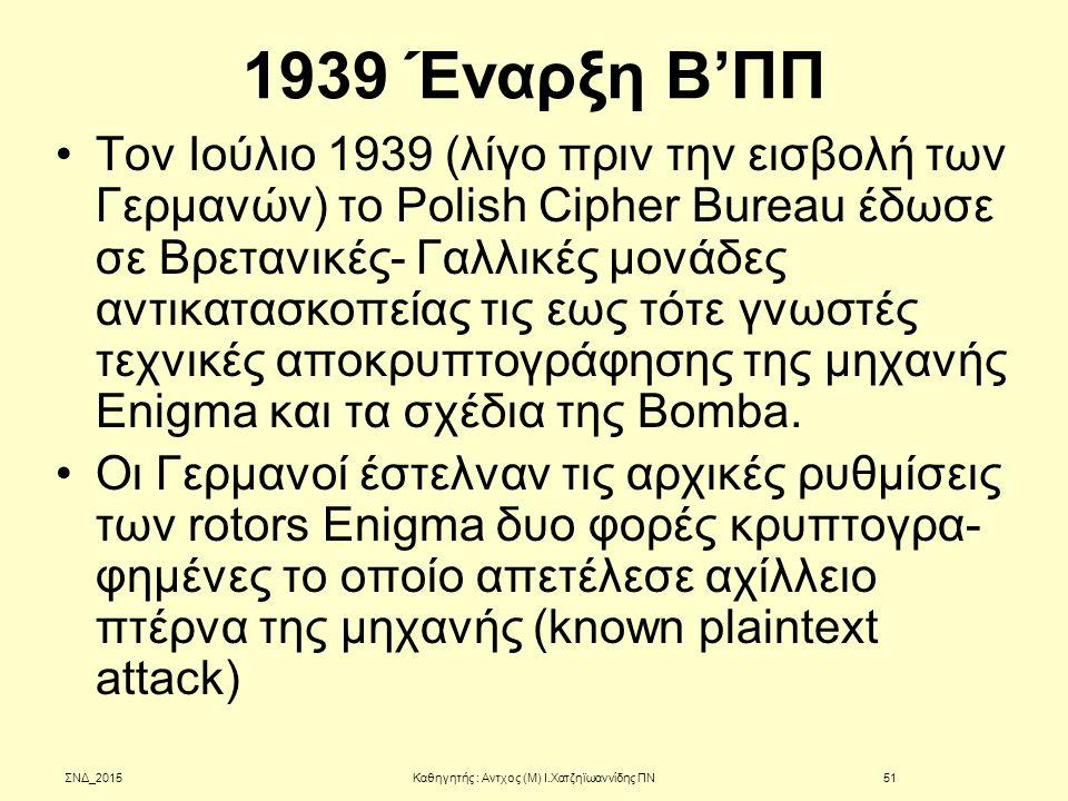 1939 Έναρξη Β'ΠΠ Τον Ιούλιο 1939 (λίγο πριν την εισβολή των Γερμανών) το Polish Cipher Bureau έδωσε σε Βρετανικές- Γαλλικές μονάδες αντικατασκοπείας τ