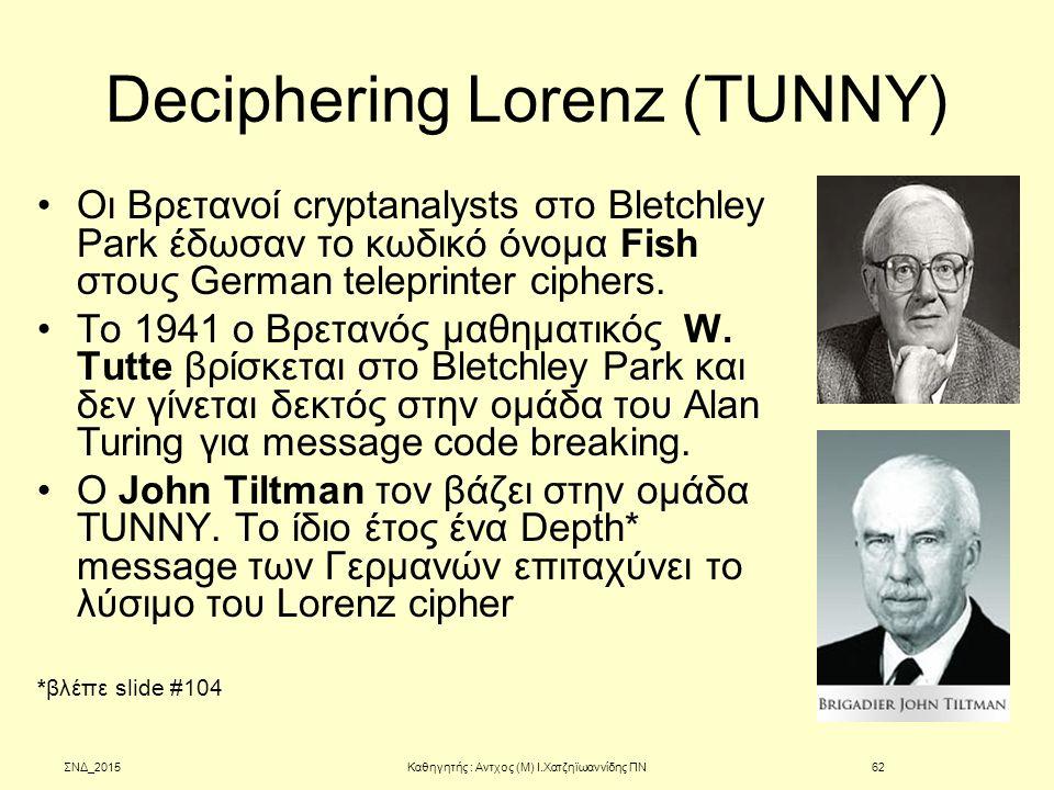 Deciphering Lorenz (TUNNY) Oι Βρετανοί cryptanalysts στο Bletchley Park έδωσαν το κωδικό όνομα Fish στους German teleprinter ciphers. To 1941 o Βρεταν