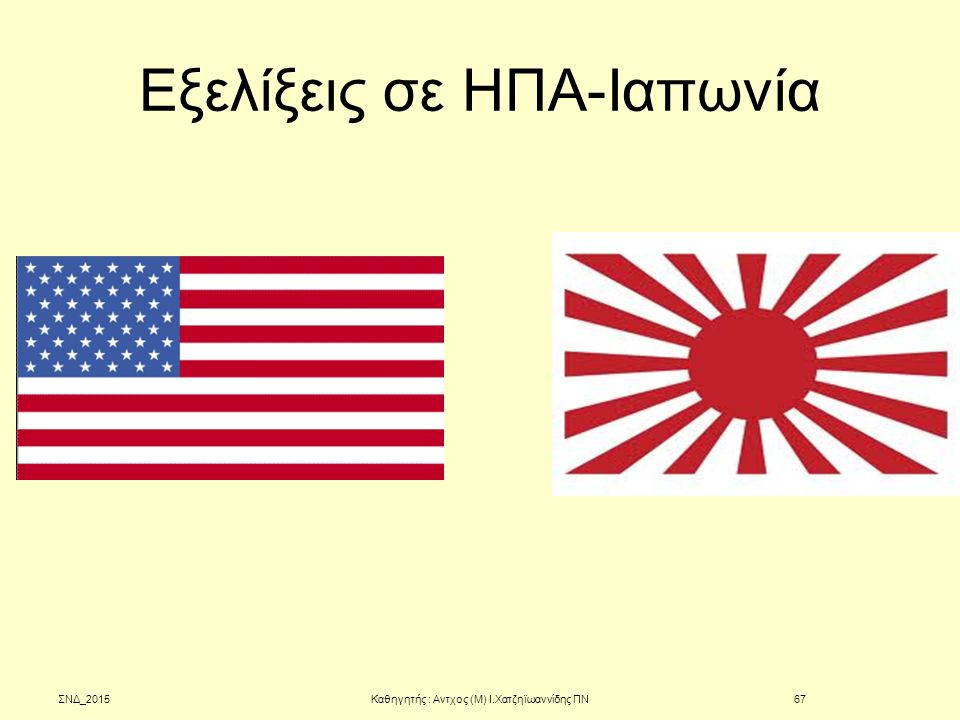 Εξελίξεις σε ΗΠΑ-Ιαπωνία ΣΝΔ_2015Καθηγητής : Αντχος (Μ) Ι.Χατζηϊωαννίδης ΠΝ67