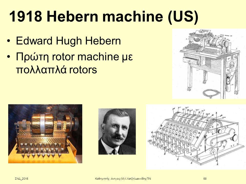 1918 Hebern machine (US) Edward Hugh Hebern Πρώτη rotor machine με πολλαπλά rotors ΣΝΔ_2015Καθηγητής : Αντχος (Μ) Ι.Χατζηϊωαννίδης ΠΝ68