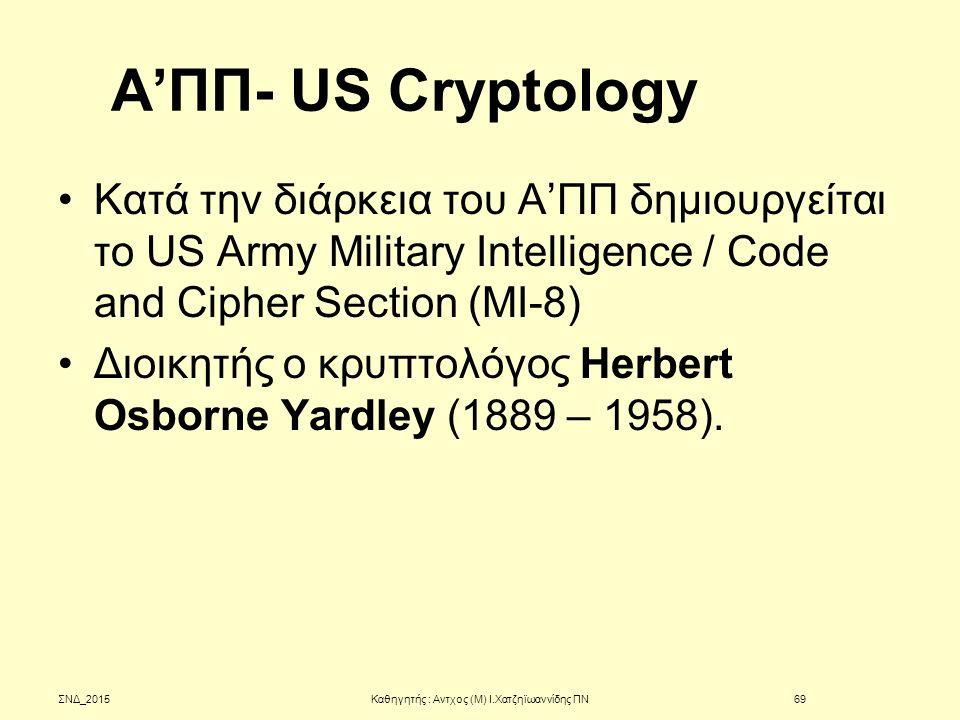 Α'ΠΠ- US Cryptology Κατά την διάρκεια του Α'ΠΠ δημιουργείται το US Army Military Intelligence / Code and Cipher Section (MI-8) Διοικητής ο κρυπτολόγος