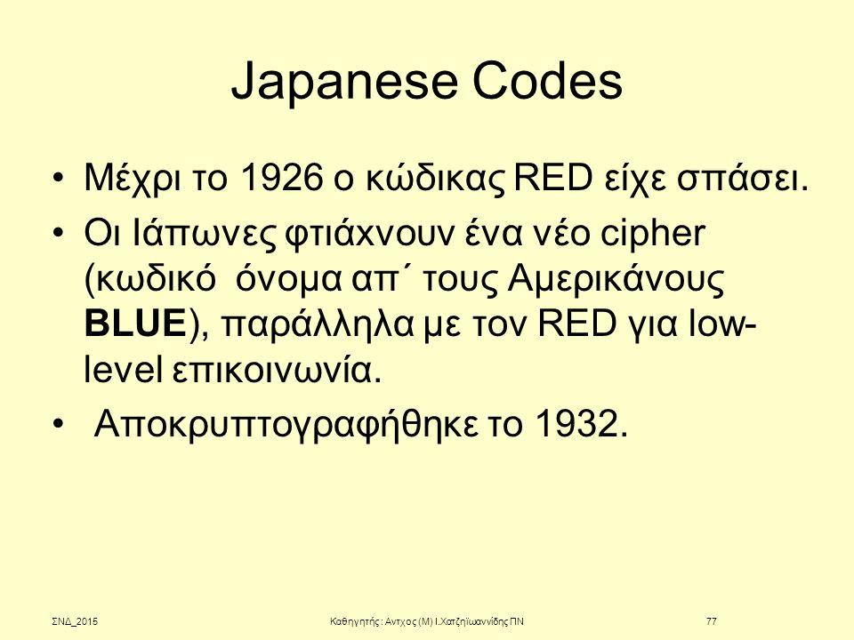 Japanese Codes Μέχρι το 1926 ο κώδικας RED είχε σπάσει. Οι Ιάπωνες φτιάxνουν ένα νέο cipher (κωδικό όνομα απ΄ τους Αμερικάνους BLUE), παράλληλα με τον