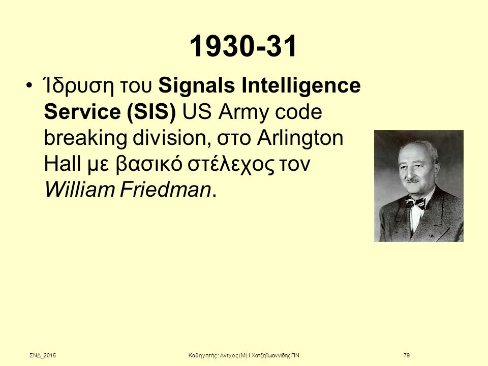 1930-31 Ίδρυση του Signals Intelligence Service (SIS) US Army code breaking division, στο Arlington Hall με βασικό στέλεχος τον William Friedman. ΣΝΔ_
