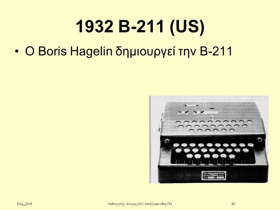 1932 B-211 (US) Ο Boris Hagelin δημιουργεί την B-211 ΣΝΔ_2015Καθηγητής : Αντχος (Μ) Ι.Χατζηϊωαννίδης ΠΝ80