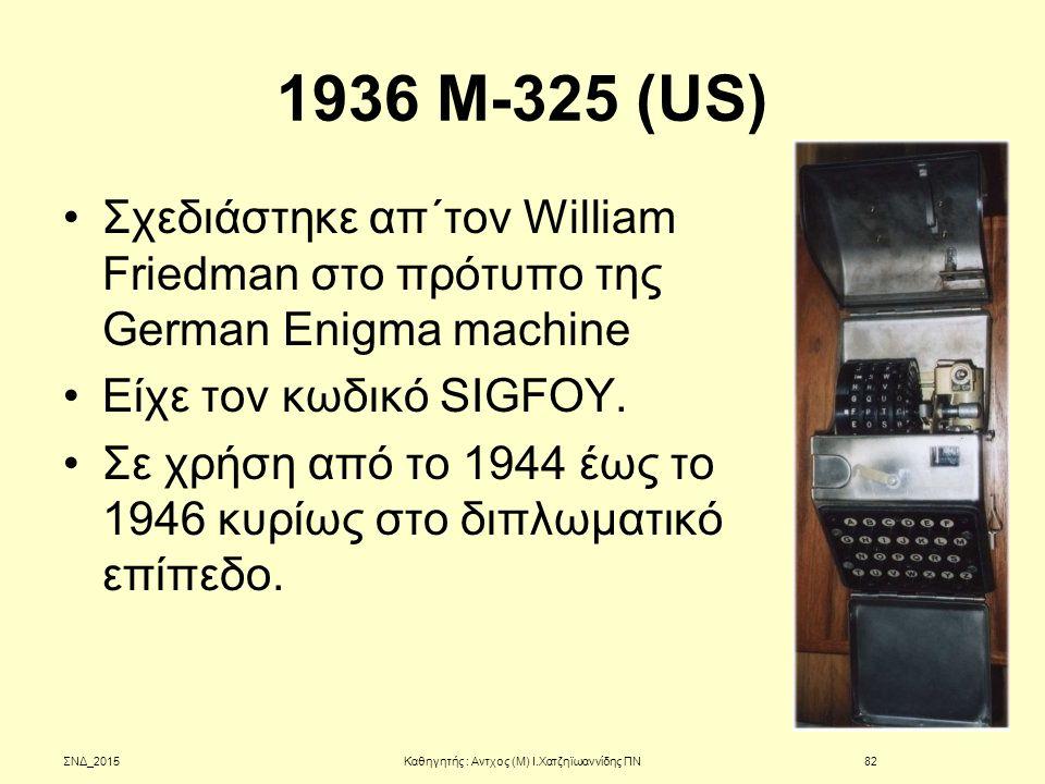 1936 M-325 (US) Σχεδιάστηκε απ΄τον William Friedman στο πρότυπο της German Enigma machine Είχε τον κωδικό SIGFOY. Σε χρήση από το 1944 έως το 1946 κυρ