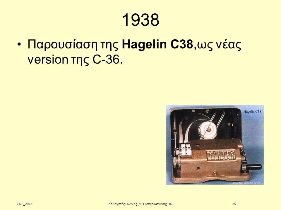 1938 Παρουσίαση της Hagelin C38,ως νέας version της C-36. ΣΝΔ_2015Καθηγητής : Αντχος (Μ) Ι.Χατζηϊωαννίδης ΠΝ85