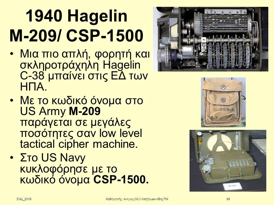 1940 Hagelin Μ-209/ CSP-1500 Μια πιο απλή, φορητή και σκληροτράχηλη Hagelin C-38 μπαίνει στις ΕΔ των ΗΠΑ. Με το κωδικό όνομα στο US Army M-209 παράγετ