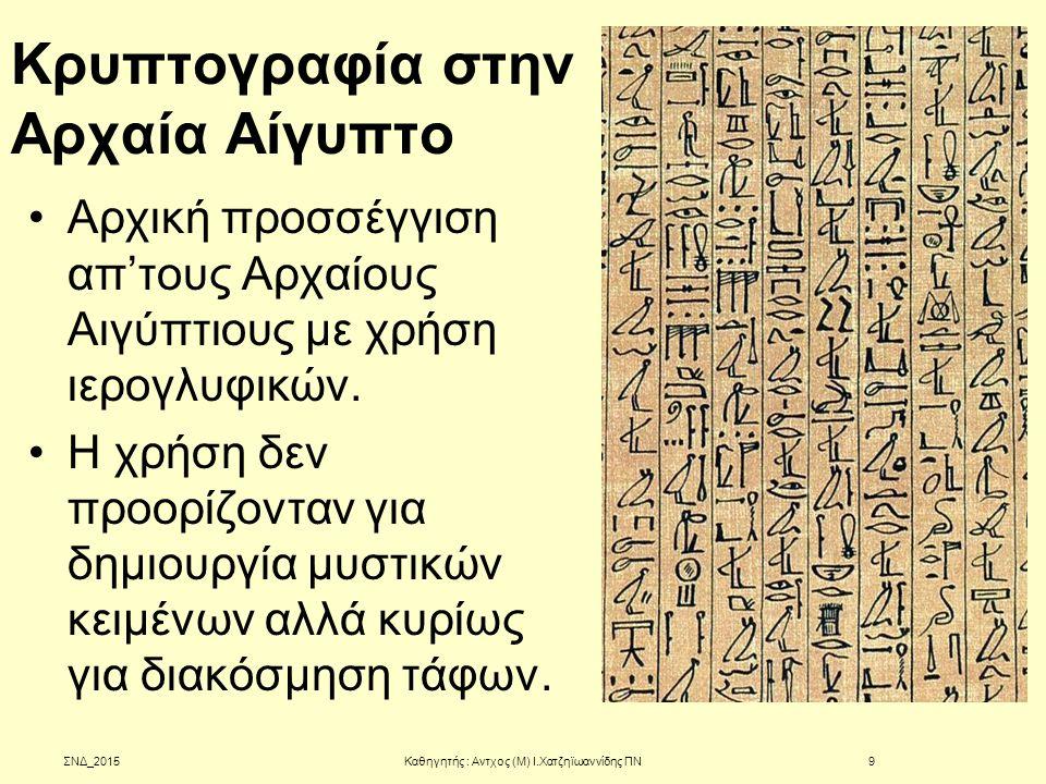 Κρυπτογραφία στην Αρχαία Αίγυπτο Αρχική προσσέγγιση απ'τους Αρχαίους Αιγύπτιους με χρήση ιερογλυφικών. Η χρήση δεν προορίζονταν για δημιουργία μυστικώ