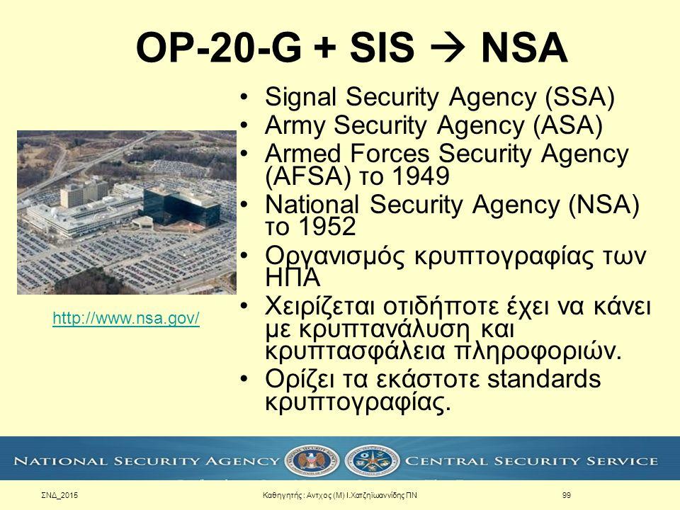 ΣΝΔ_2015 OP-20-G + SIS  NSA Signal Security Agency (SSA) Army Security Agency (ASA) Armed Forces Security Agency (AFSA) το 1949 National Security Age