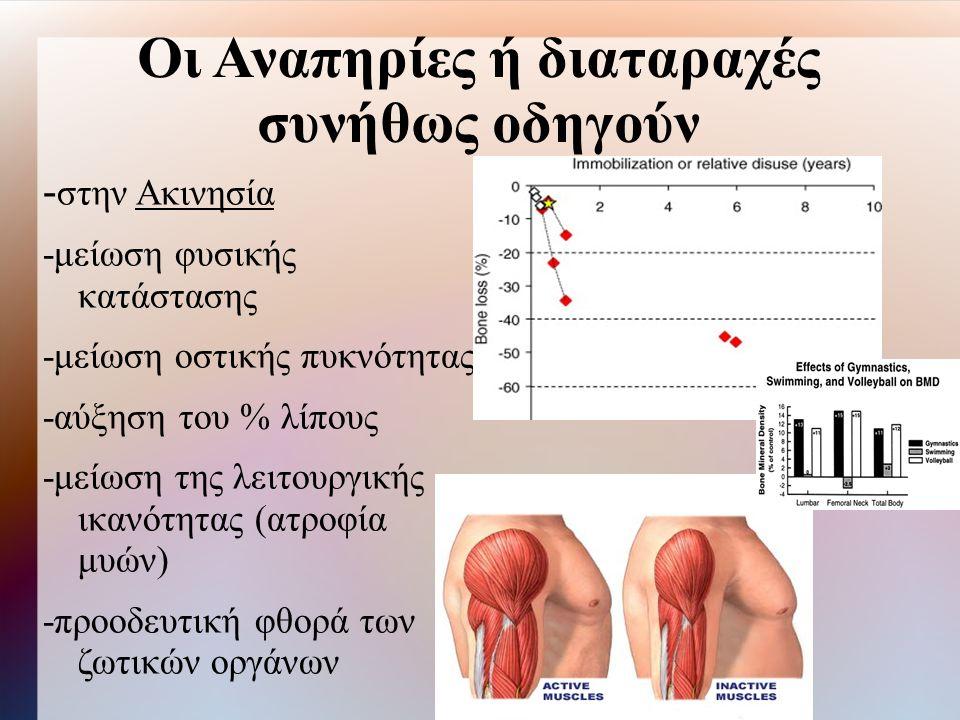 Οι Αναπηρίες ή διαταραχές συνήθως οδηγούν - στην Ακινησία -μείωση φυσικής κατάστασης -μείωση οστικής πυκνότητας -αύξηση του % λίπους -μείωση της λειτουργικής ικανότητας (ατροφία μυών) -προοδευτική φθορά των ζωτικών οργάνων