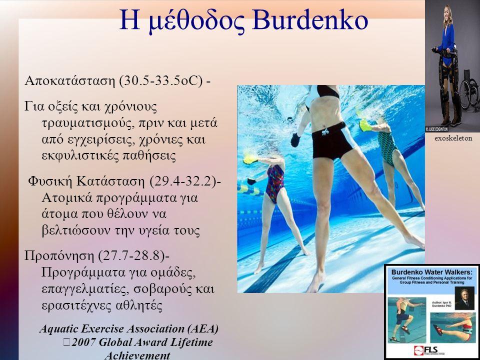 Η μέθοδος Burdenko Αποκατάσταση (30.5-33.5oC) - Για οξείς και χρόνιους τραυματισμούς, πριν και μετά από εγχειρίσεις, χρόνιες και εκφυλιστικές παθήσεις Φυσική Κατάσταση (29.4-32.2)- Ατομικά προγράμματα για άτομα που θέλουν να βελτιώσουν την υγεία τους Προπόνηση (27.7-28.8)- Προγράμματα για ομάδες, επαγγελματίες, σοβαρούς και ερασιτέχνες αθλητές Aquatic Exercise Association (AEA) 2007 Global Award Lifetime Achievement exoskeleton