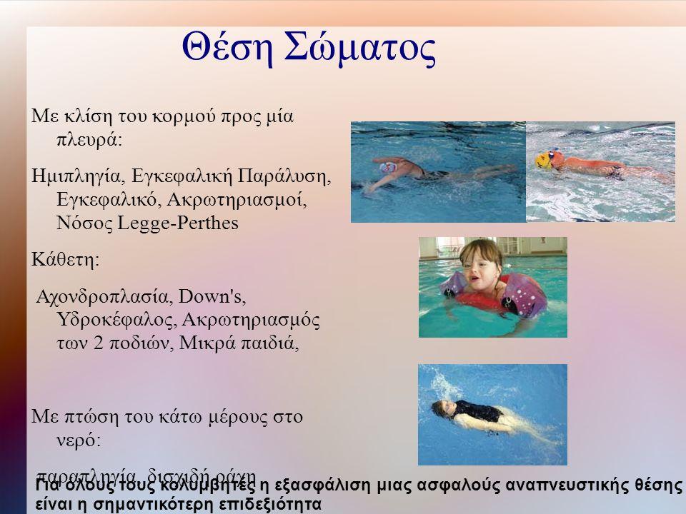 Θέση Σώματος Με κλίση του κορμού προς μία πλευρά: Ημιπληγία, Εγκεφαλική Παράλυση, Εγκεφαλικό, Ακρωτηριασμοί, Νόσος Legge-Perthes Κάθετη: Αχονδροπλασία, Down s, Υδροκέφαλος, Ακρωτηριασμός των 2 ποδιών, Μικρά παιδιά, Με πτώση του κάτω μέρους στο νερό: παραπληγία, δισχιδή ράχη Για όλους τους κολυμβητές η εξασφάλιση μιας ασφαλούς αναπνευστικής θέσης είναι η σημαντικότερη επιδεξιότητα