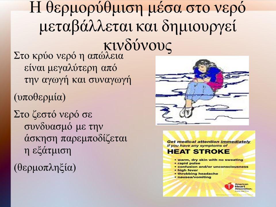 Η θερμορύθμιση μέσα στο νερό μεταβάλλεται και δημιουργεί κινδύνους Στο κρύο νερό η απώλεια είναι μεγαλύτερη από την αγωγή και συναγωγή (υποθερμία) Στο ζεστό νερό σε συνδυασμό με την άσκηση παρεμποδίζεται η εξάτμιση (θερμοπληξία)