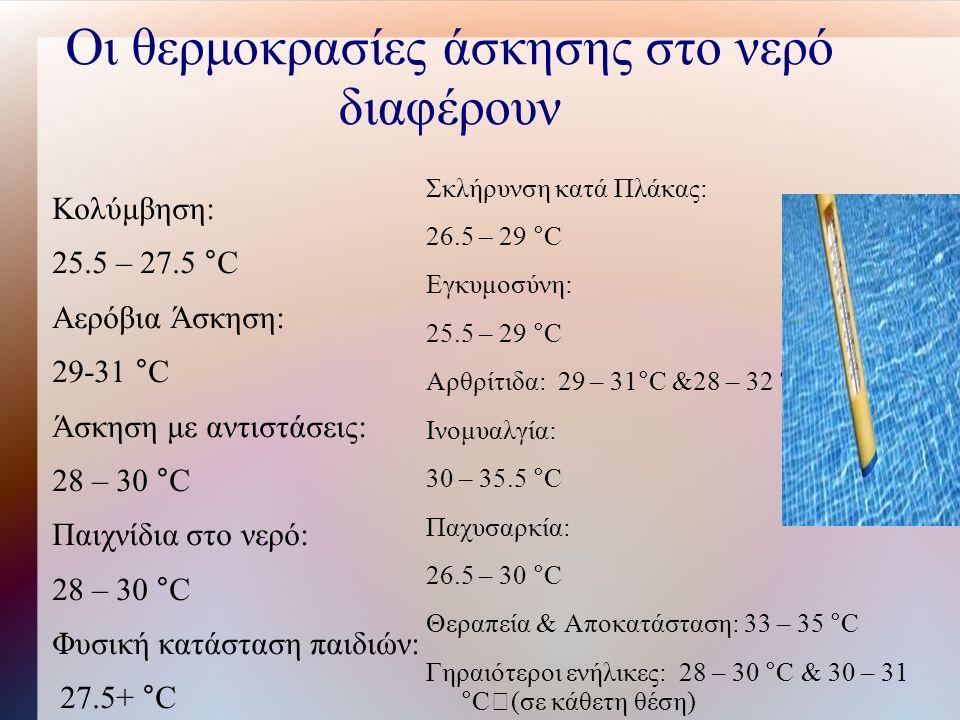 Οι θερμοκρασίες άσκησης στο νερό διαφέρουν Κολύμβηση: 25.5 – 27.5 °C Αερόβια Άσκηση: 29-31 °C Άσκηση με αντιστάσεις: 28 – 30 °C Παιχνίδια στο νερό: 28 – 30 °C Φυσική κατάσταση παιδιών: 27.5+ °C Σκλήρυνση κατά Πλάκας: 26.5 – 29 °C Εγκυμοσύνη: 25.5 – 29 °C Αρθρίτιδα: 29 – 31°C &28 – 32 °C Ινομυαλγία: 30 – 35.5 °C Παχυσαρκία: 26.5 – 30 °C Θεραπεία & Αποκατάσταση: 33 – 35 °C Γηραιότεροι ενήλικες: 28 – 30 °C & 30 – 31 °C (σε κάθετη θέση)