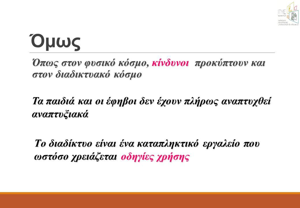 http://www.cyberkid.gov.gr/ http://www.cyberkid.gov.gr/ (ΔΔΗΕ) Υλικό για γονείς και παιδιά (σύμβαση γονέων – παιδιών για τη χρήση κινητού) Cyberalert: 11188 Ενημέρωση – περιστατικά