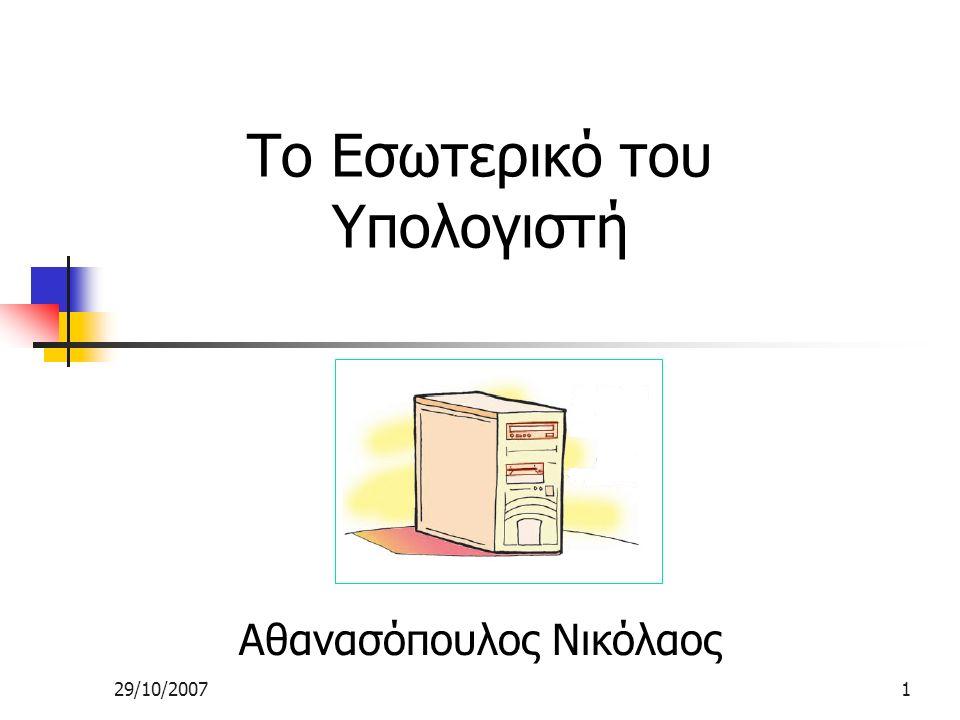 29/10/20071 Το Εσωτερικό του Υπολογιστή Αθανασόπουλος Νικόλαος