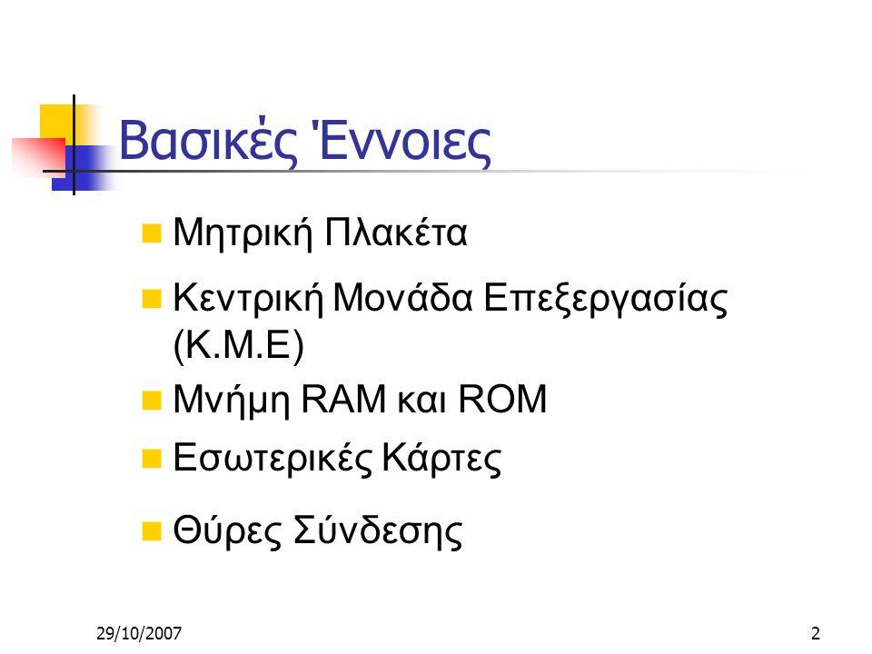 29/10/20072 Κεντρική Μονάδα Επεξεργασίας (Κ.Μ.Ε) Μνήμη RAM και ROM Εσωτερικές Κάρτες Θύρες Σύνδεσης Μητρική Πλακέτα Βασικές Έννοιες