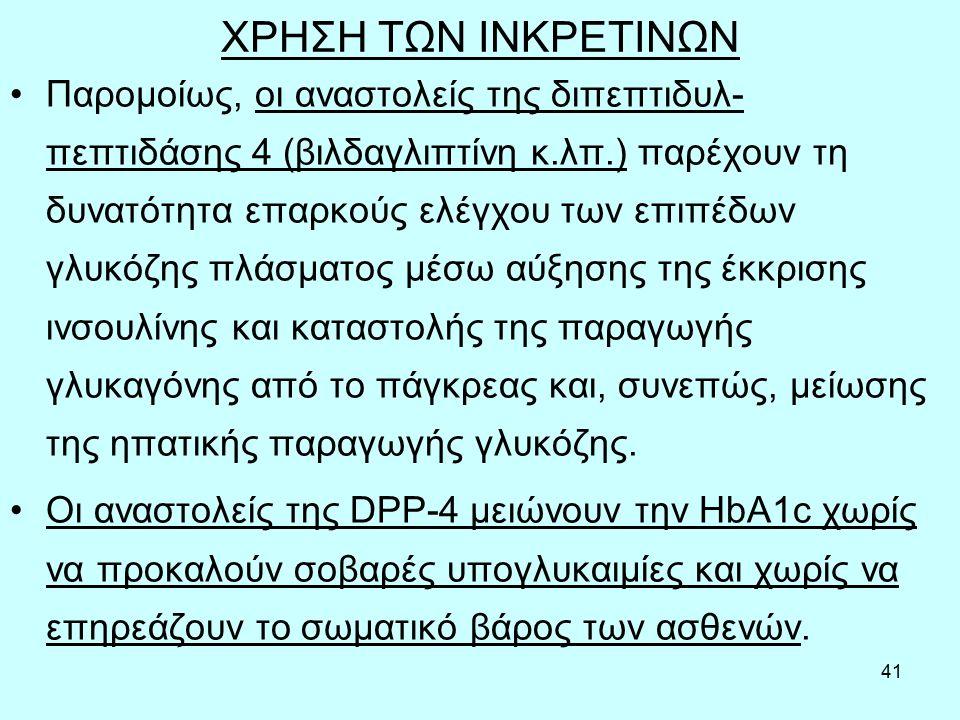41 ΧΡΗΣΗ ΤΩΝ ΙΝΚΡΕΤΙΝΩΝ Παρομοίως, οι αναστολείς της διπεπτιδυλ- πεπτιδάσης 4 (βιλδαγλιπτίνη κ.λπ.) παρέχουν τη δυνατότητα επαρκούς ελέγχου των επιπέδων γλυκόζης πλάσματος μέσω αύξησης της έκκρισης ινσουλίνης και καταστολής της παραγωγής γλυκαγόνης από το πάγκρεας και, συνεπώς, μείωσης της ηπατικής παραγωγής γλυκόζης.