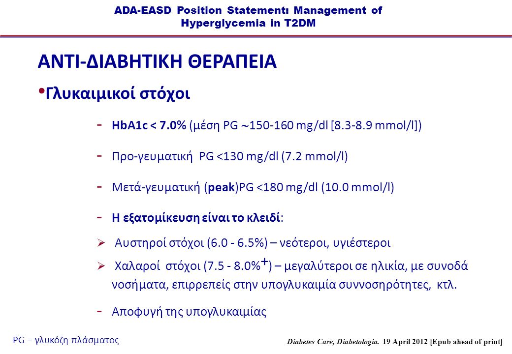 ADA-EASD Position Statement: Management of Hyperglycemia in T2DM ANTI-ΔΙΑΒΗΤΙΚΗ ΘΕΡΑΠΕΙΑ Γλυκαιμικοί στόχοι  HbA1c < 7.0% (μέση PG  150-160 mg/dl [8