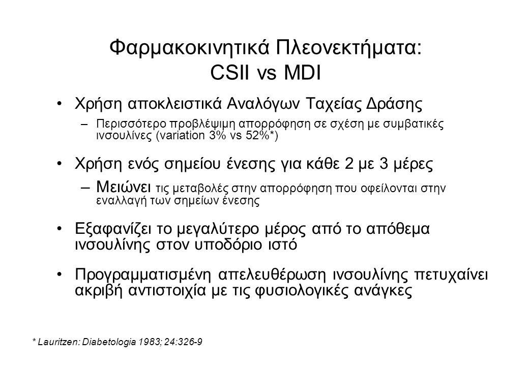 Φαρμακοκινητικά Πλεονεκτήματα: CSII vs MDI Χρήση αποκλειστικά Αναλόγων Ταχείας Δράσης –Περισσότερο προβλέψιμη απορρόφηση σε σχέση με συμβατικές ινσουλίνες (variation 3% vs 52%*) Χρήση ενός σημείου ένεσης για κάθε 2 με 3 μέρες –Μειώνει τις μεταβολές στην απορρόφηση που οφείλονται στην εναλλαγή των σημείων ένεσης Εξαφανίζει το μεγαλύτερο μέρος από το απόθεμα ινσουλίνης στον υποδόριο ιστό Προγραμματισμένη απελευθέρωση ινσουλίνης πετυχαίνει ακριβή αντιστοιχία με τις φυσιολογικές ανάγκες * Lauritzen: Diabetologia 1983; 24:326-9