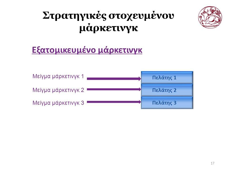 Στρατηγικές στοχευμένου μάρκετινγκ Εξατομικευμένο μάρκετινγκ 17 Μείγμα μάρκετινγκ 1 Μείγμα μάρκετινγκ 2 Μείγμα μάρκετινγκ 3 Πελάτης 1 Πελάτης 2 Πελάτης 3