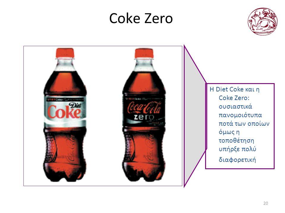 20 Coke Zero Η Diet Coke και η Coke Zero: ουσιαστικά πανομοιότυπα ποτά των οποίων όμως η τοποθέτηση υπήρξε πολύ διαφορετική