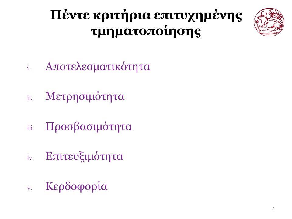 Πέντε κριτήρια επιτυχημένης τμηματοποίησης 8 i. Αποτελεσματικότητα ii.