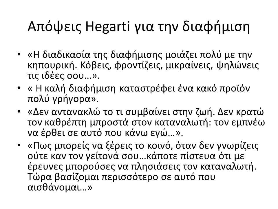 Απόψεις Hegarti για την διαφήμιση «Η διαδικασία της διαφήμισης μοιάζει πολύ με την κηπουρική. Κόβεις, φροντίζεις, μικραίνεις, ψηλώνεις τις ιδέες σου…»