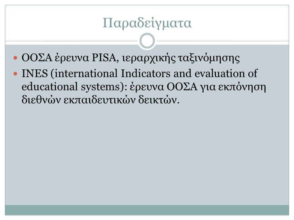 Παραδείγματα ΟΟΣΑ έρευνα PISA, ιεραρχικής ταξινόμησης INES (international Indicators and evaluation of educational systems): έρευνα ΟΟΣΑ για εκπόνηση διεθνών εκπαιδευτικών δεικτών.