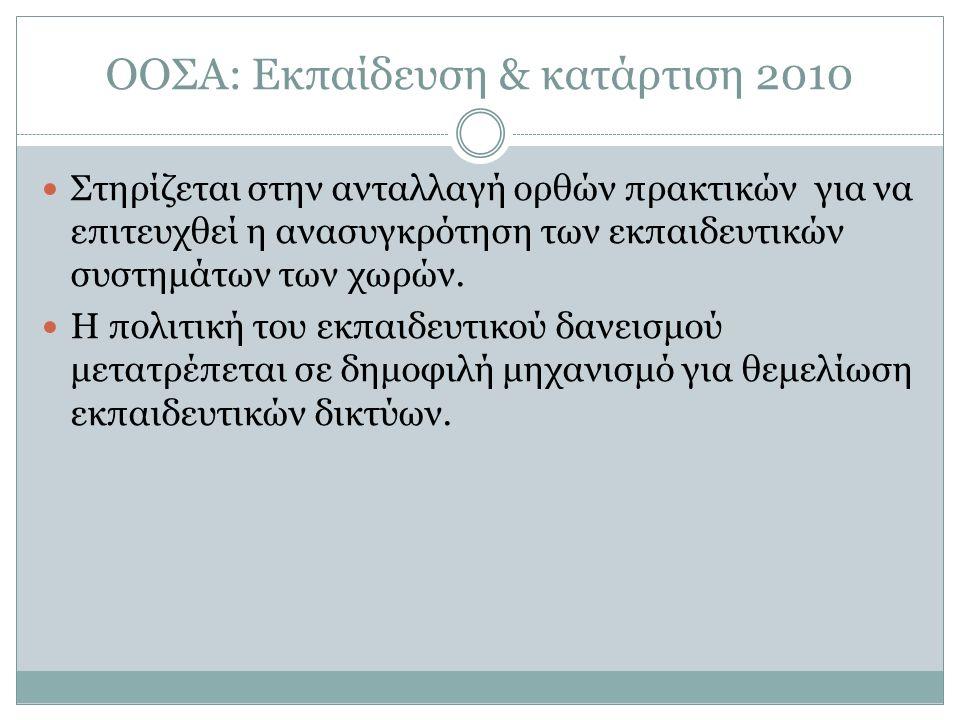 ΟΟΣΑ: Εκπαίδευση & κατάρτιση 2010 Στηρίζεται στην ανταλλαγή ορθών πρακτικών για να επιτευχθεί η ανασυγκρότηση των εκπαιδευτικών συστημάτων των χωρών.